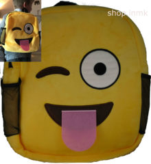 smiling yellow backpack bag children